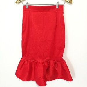 Red Peplum Hem Skirt #34-35